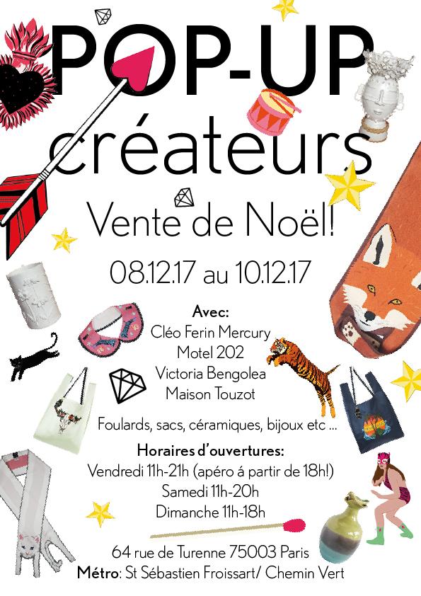 Pop-up Créateurs Vente de Noël! Avec Cléo Ferin Mercury, Motel 201, Victoria Bengolea & Maison Touzot
