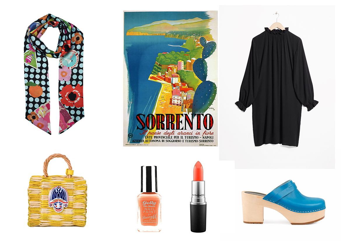Shop the look :  Skinny Cravat by Cléo Ferin Mercury ,  Bag by Heimat Atlantica  ,  Nail Varnish by Barry M ,  Lipstick by Mac ,  Dress by &Other Stories ,  Clogs by Swedish Hasbeens .