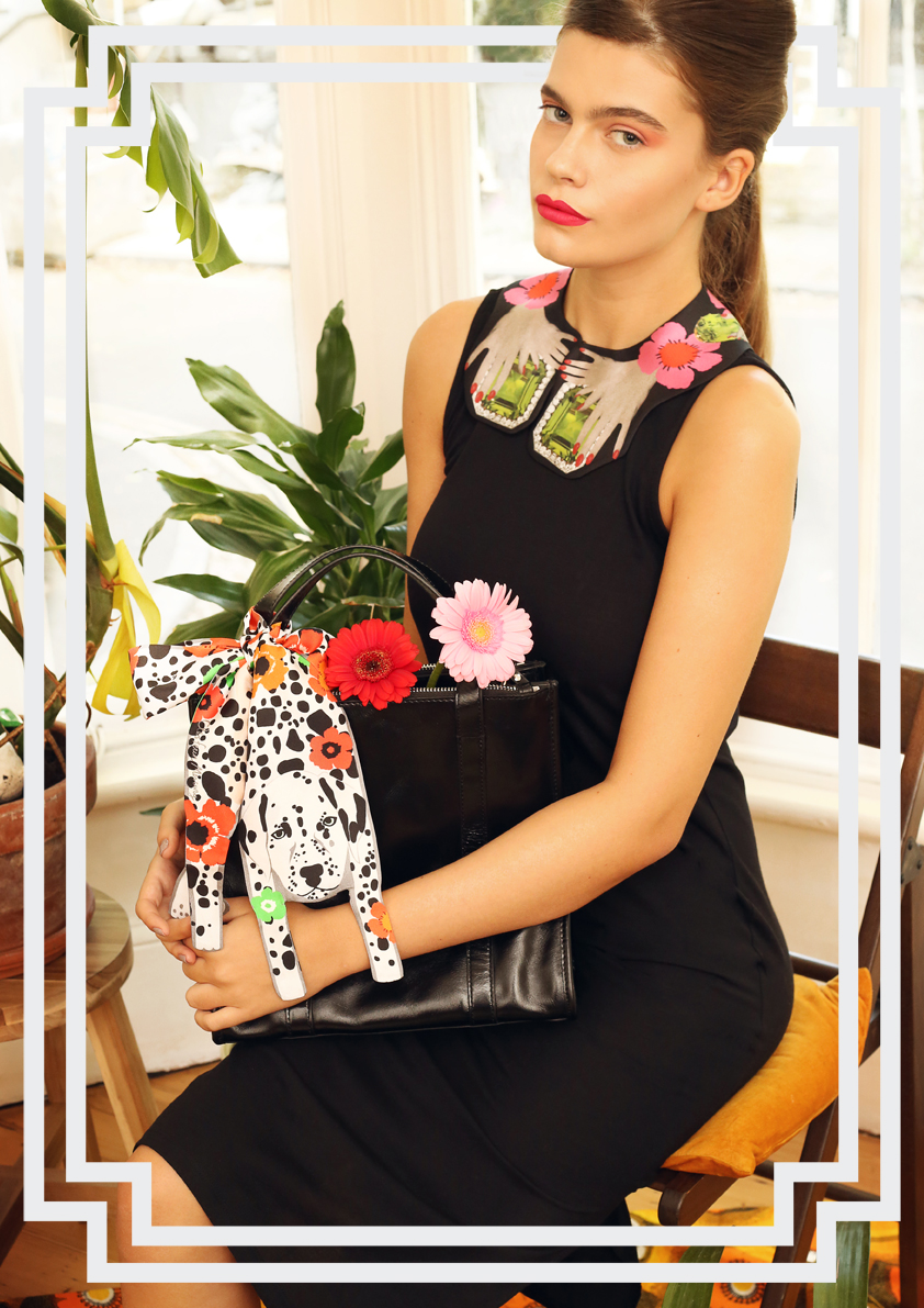 mini dalmatian with floral print and precius stones large collar - Cleo Ferin Mercury Accessories.jpg
