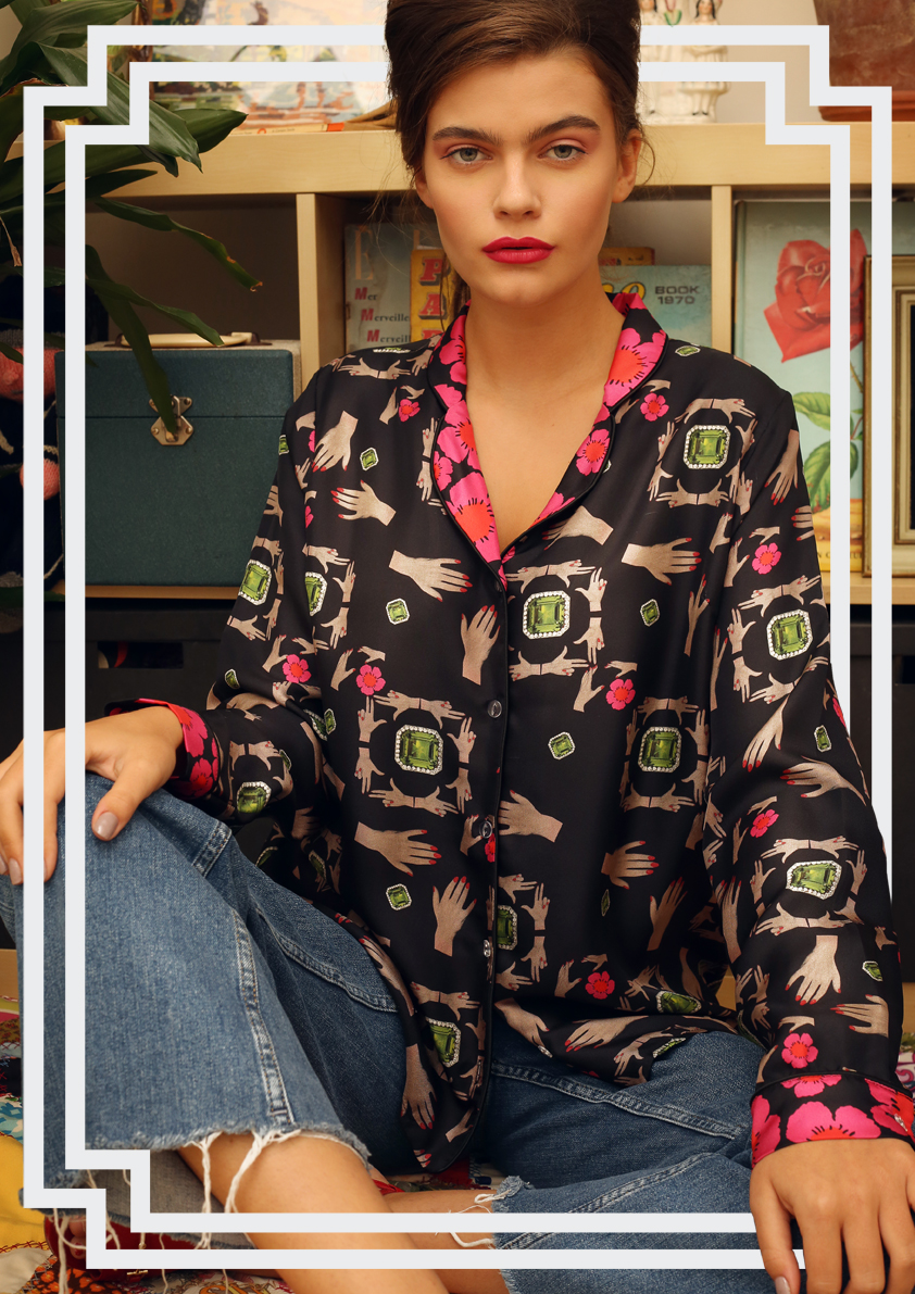 precious stones pyjama style silk top - Cleo Ferin Mercury Accessories.jpg