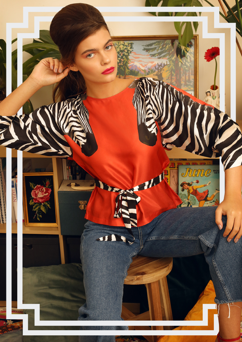 zebra print red silk cotton blouse - Cleo Ferin Mercury Accessories.jpg