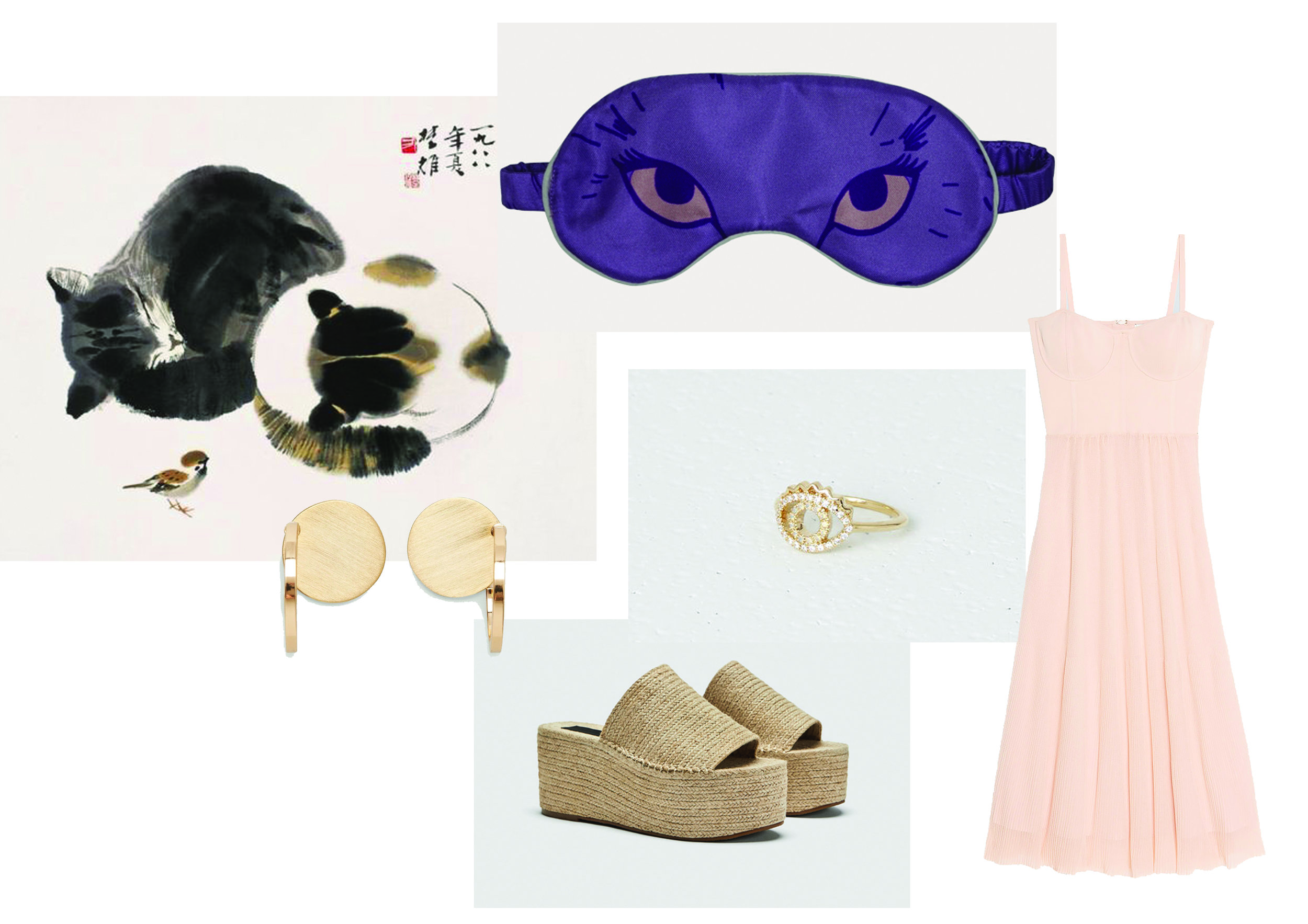 Eye mask by Cléo Ferin Mercury ,  Dress by Sandro ,  Ring by Kenzo ,  Shoes by Zara , Earrings by Cos.