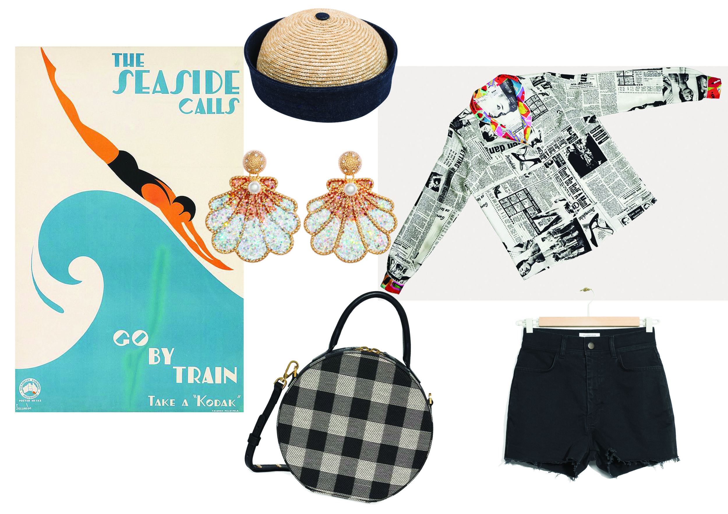 Hat by Béton Ciré ,  Shirt by Cléo Ferin Mercury ,  Denim Shorts by &Other Stories ,  Bag by Mansur Gavriel ,  Earrings by H&M .