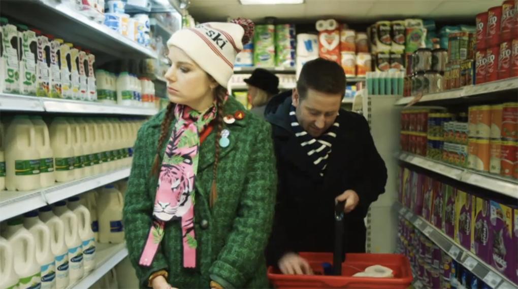 Aimee-Ffion Edwards wearing Cleo Ferin Mercury Tiger print silk scarf on Channel 4 Loaded.jpg