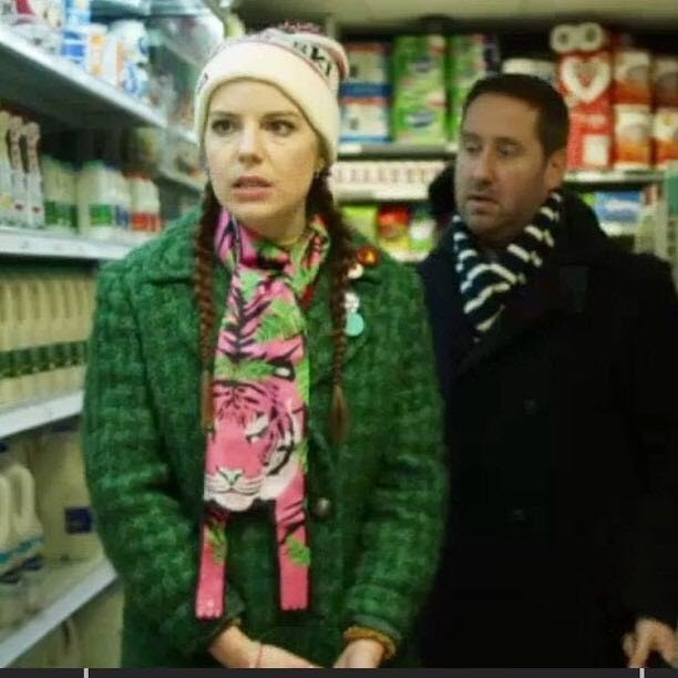 Aimee-Ffion Edwards wearing Cleo Ferin Mercury Tiger print silk scarf on Channel 4 Loaded 2.jpg