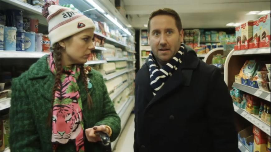 Aimee-Ffion Edwards wearing Cleo Ferin Mercury Tiger print silk scarf on Channel 4 Loaded 3.jpg