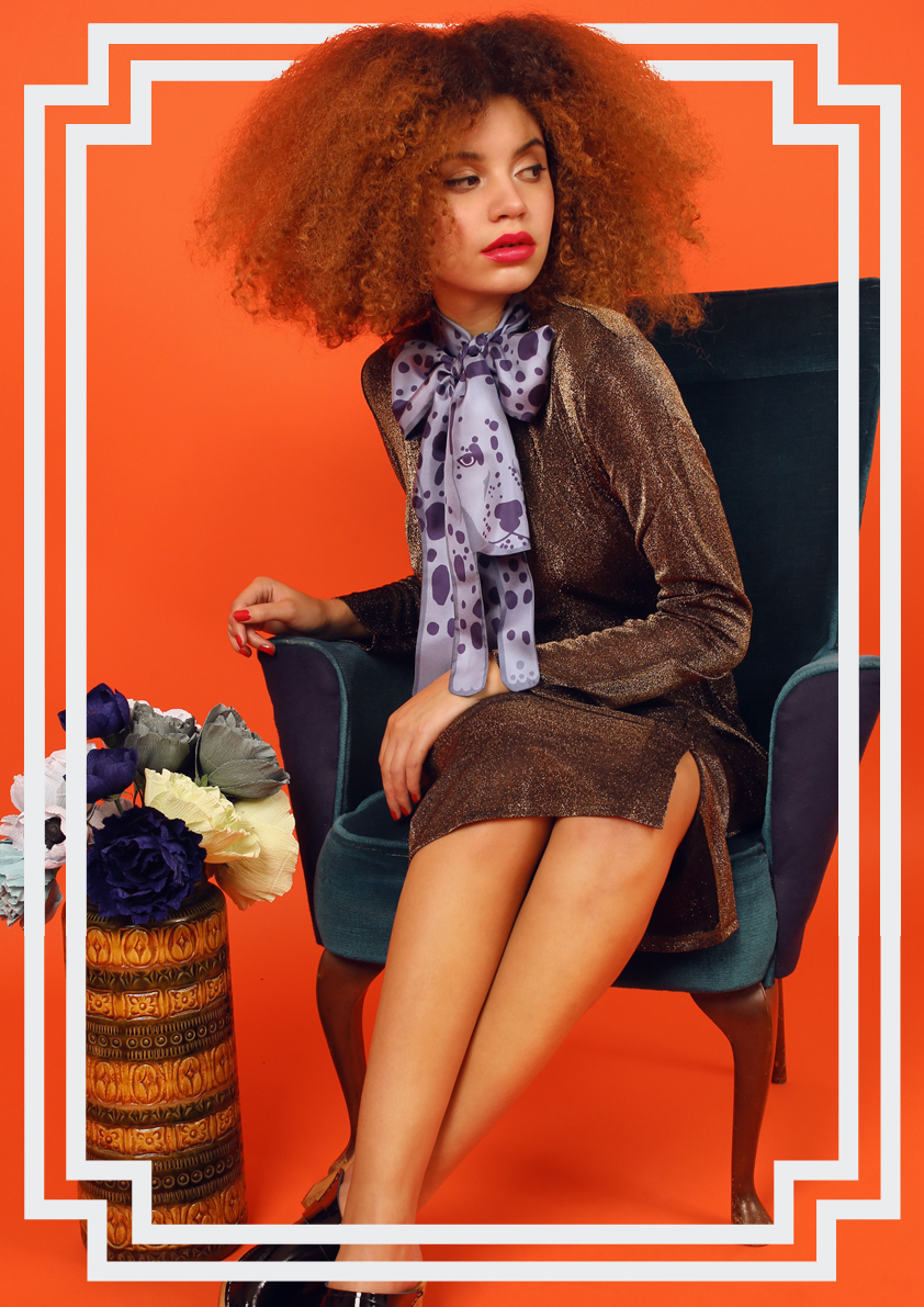 紫色达尔马提亚印花丝绸围巾动物包裹结 - 动物印花真丝围巾及配饰