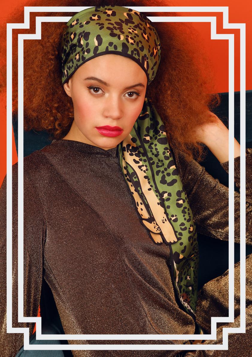 绿色豹纹真丝围巾头巾结 - 动物印花真丝围巾及配饰