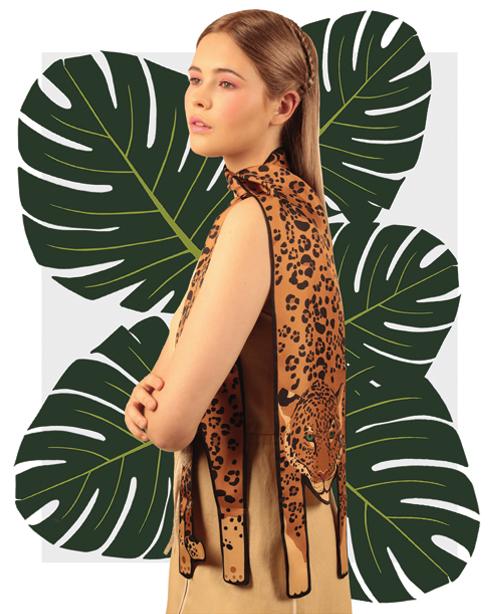 金美洲虎印刷品 - 捷豹印花 - 豹紋 - 動物真絲圍巾 - 动物真丝围巾 - 原版的 - 英国设计