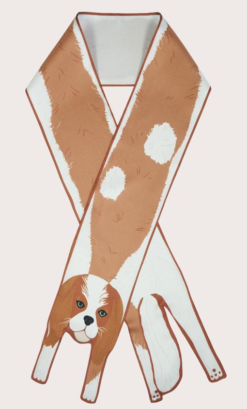 設計師 國王查爾斯獵犬印刷品 - 国王查尔斯猎犬印刷品 - 動物真絲圍巾 - 动物真丝围巾 - Cleo Ferin Mercury 原版的 - 英国设计.jpg