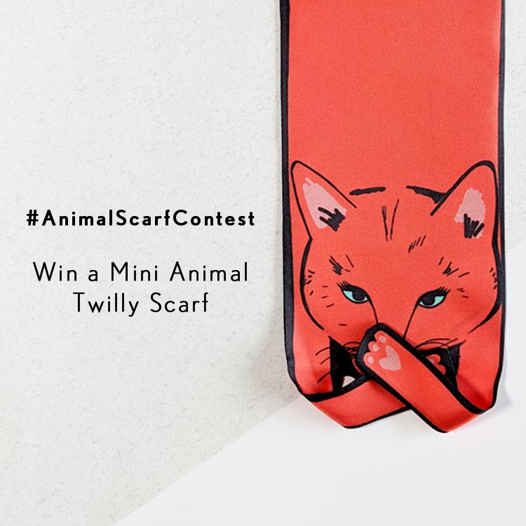 用我們的#AnimalScarfContest贏得迷你動物斜紋圍巾 - 絲巾 - 貓印花 - 美洲虎印花 - 豹紋印花 - 老虎印花 - 斑馬紋 - 狗印花 - 設計師絲巾 - 英國設計