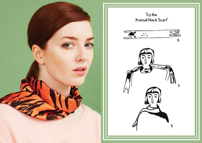 动物围巾橙色虎 - 如何设计丝巾 - 动物长丝巾 - 动物图案 - 时尚围巾结 - cleo ferin mercury - tuesday scarf knot - 每日围巾结.jpg