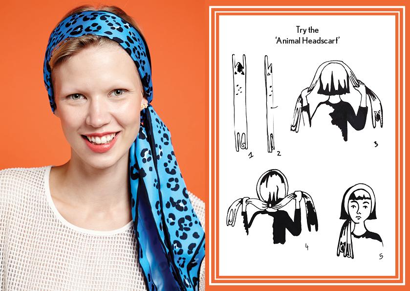 动物头巾蓝色美洲虎 - 如何穿丝巾 - 动物长丝巾 - 动物图案 - 时尚围巾结 - cleo ferin mercury - thursday scarf knot - 每日围巾结.jpg