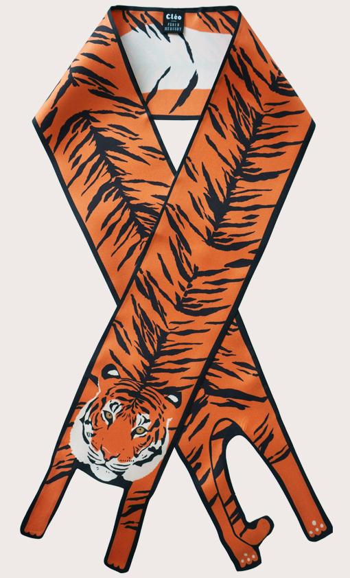 赢一条动物围巾 - 微型 橙子 老虎印 - 動物真絲圍巾 - 动物真丝围巾 - Cleo Ferin Mercury 原版的 - 英国设计.jpg