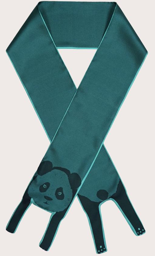 赢一条动物围巾 - 微型 熊貓印花 - 動物真絲圍巾 - 动物真丝围巾 - Cleo Ferin Mercury 原版的 - 英国设计.jpg