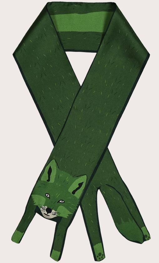赢一条动物围巾 - 微型 狐狸印花 - 動物真絲圍巾 - 动物真丝围巾 - Cleo Ferin Mercury 原版的 - 英国设计.jpg