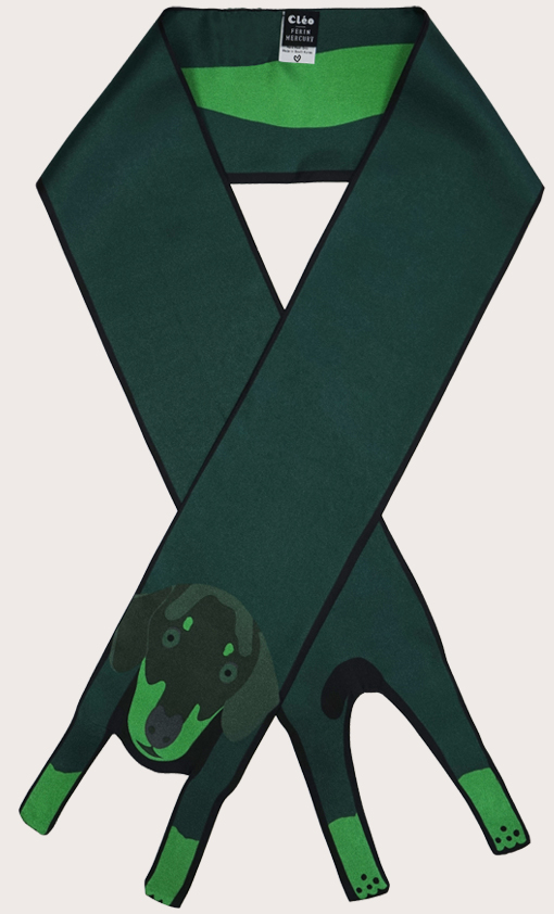 赢一条动物围巾 - 微型 臘腸犬印花 - 腊肠犬印花 - 動物真絲圍巾 - 动物真丝围巾 - Cleo Ferin Mercury 原版的 - 英国设计.jpg