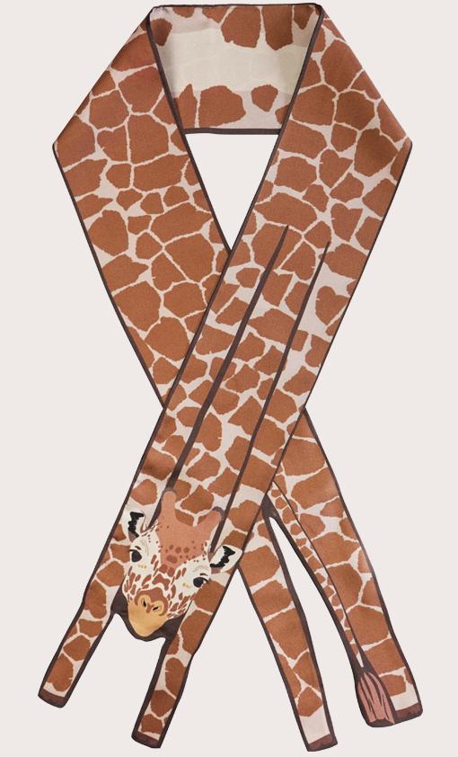 赢一条动物围巾 - 微型 長頸鹿印花 - 動物真絲圍巾 - 动物真丝围巾 - Cleo Ferin Mercury 原版的 - 英国设计.jpg