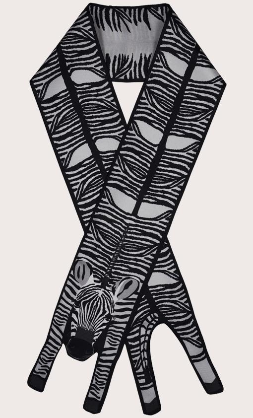 赢一条动物围巾 - 微型 黑与白 斑馬紋 - 斑马纹 - 動物真絲圍巾 - 动物真丝围巾 - Cleo Ferin Mercury 原版的 - 英国设计.jpg
