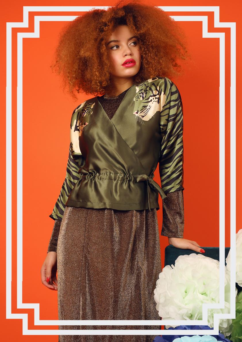 Tiger Print Silk Wrap-Up Blouse - Animal Print Blouses