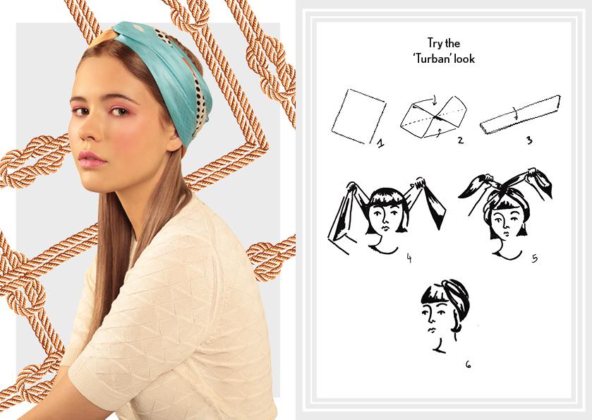 Daily Scarf Knot - Headscarf scarf knot - how to wear silk scarves - designer long silk scarves - fashion scarves knots - how to tie headscarves with a square scarf - cleo ferin mercury - friday scarf knot.jpg