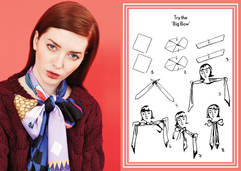 Daily Scarf Knot - silk scarf bow knot - Scarf Knot - how to wear silk scarves - how to tie a bow knot - silk scarves - fashion scarves - cleo ferin mercury - tuesday scarf knot.jpg