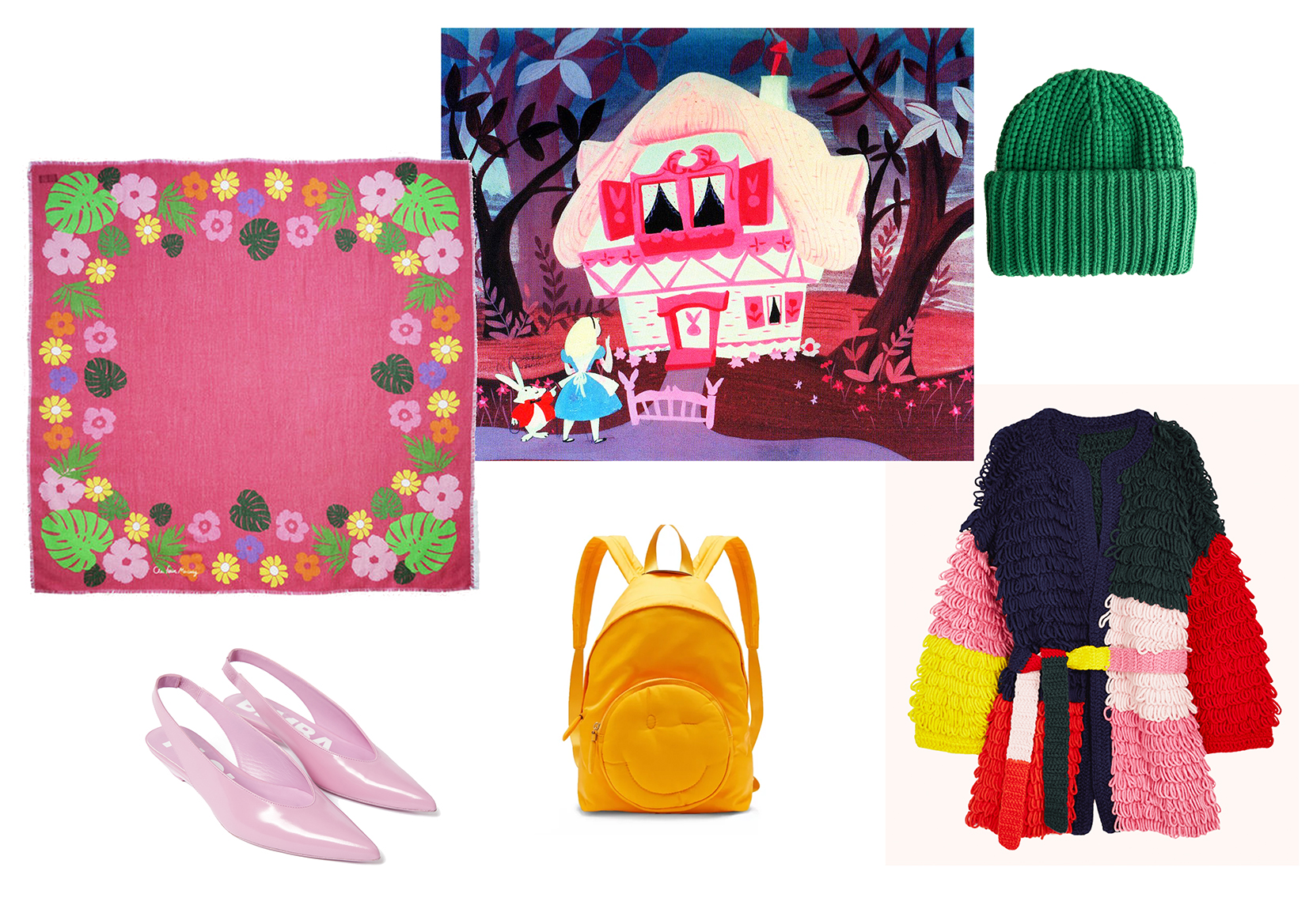 Pink Wool Scarf by Cléo Ferin Mercury ,  Shoes by Bimba Y Lola ,  Yellow Bagpack by Anya Hindmarch ,  Beanie Hat by &Other Stories ,  Cardigan by Mira Mikati .