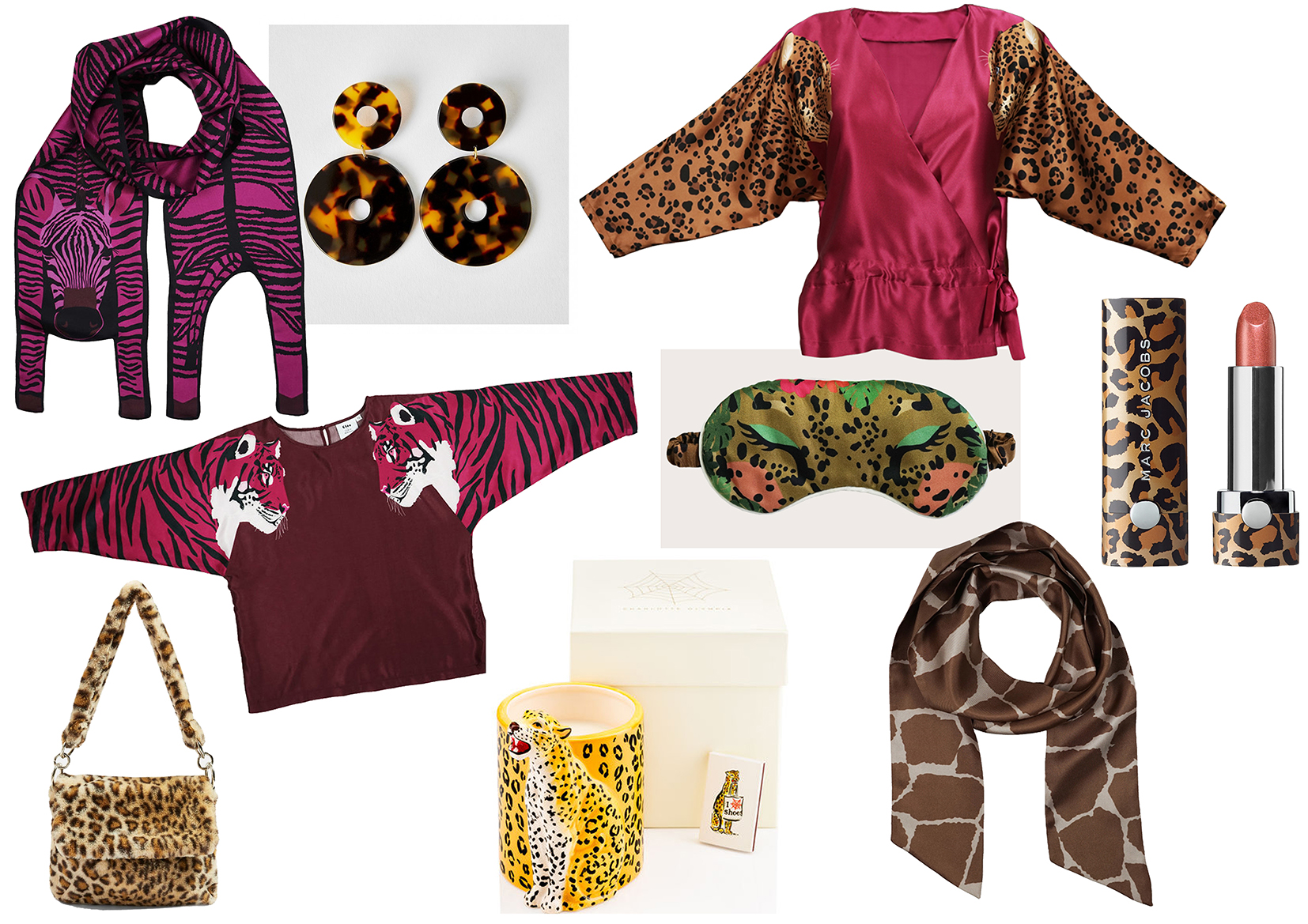 Clockwise :  Zebra Silk Scarf by Cléo Ferin Mercury , T ortoise Shell Earrings by Apres-Ski ,  Leopard Print Top By Cléo Ferin Mercury ,  Lipstick by Marc Jacobs ,  Giraffe print Cravat Scarf by Cléo Ferin Mercury,   Jaguar Eye Mask by Cléo Ferin Mercury ,  Candle by Charlotte Olympia ,  Tiger Print Top by Cléo Ferin Mercury ,  Leopard Print Bag by Topshop .