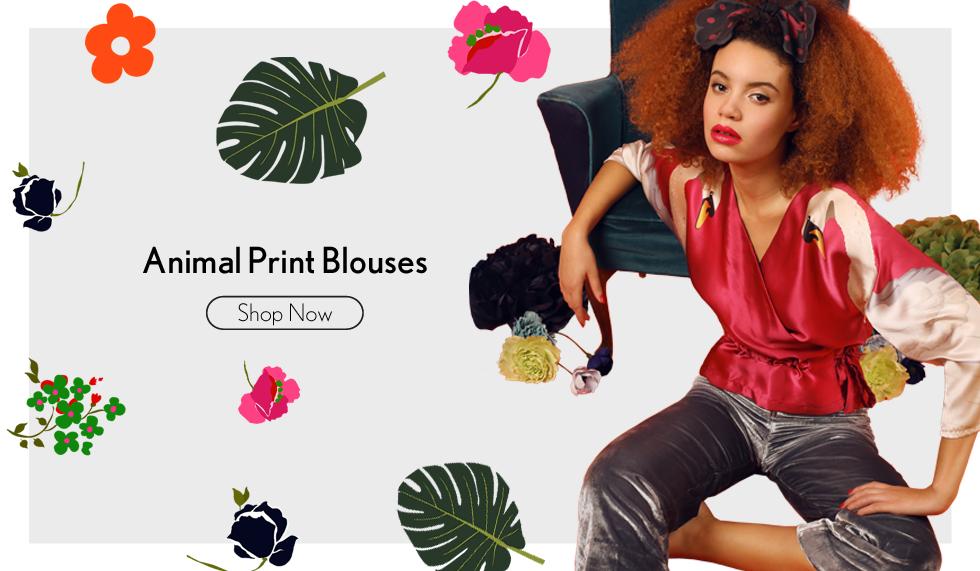 Cleo Ferin Mercury Animal Print Silk Blouses & Tops
