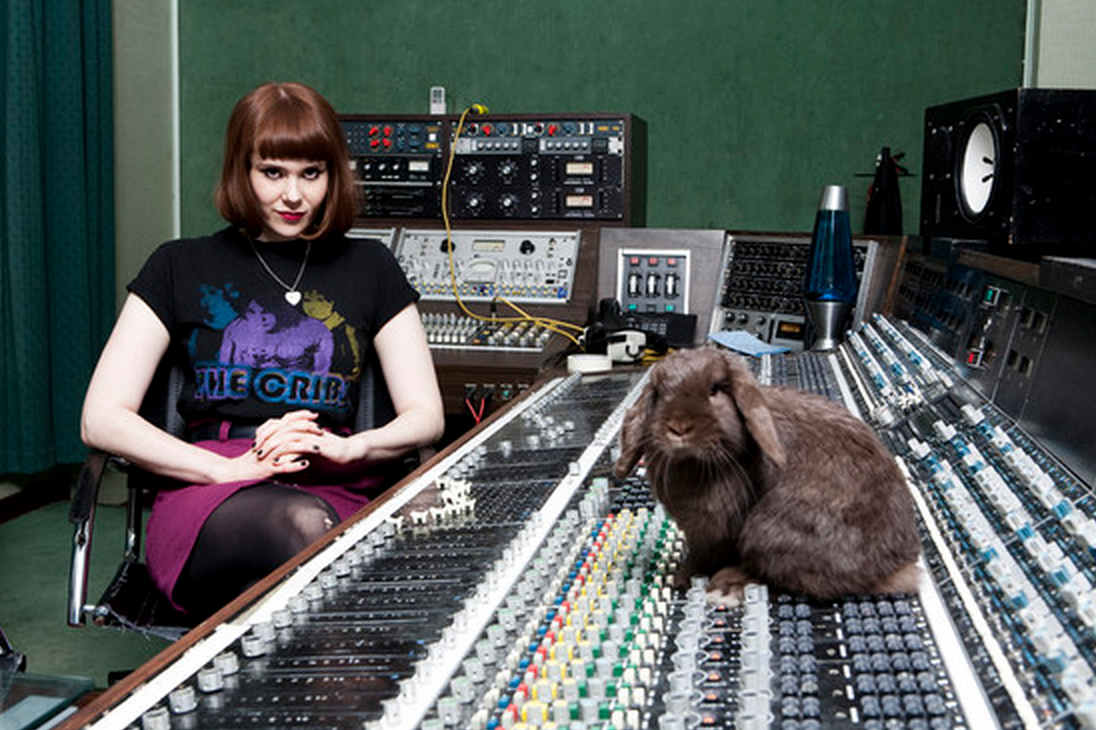 Kate Nash and Fluffy the bunny rabbit Pampered Pets and their Famous Owners.png