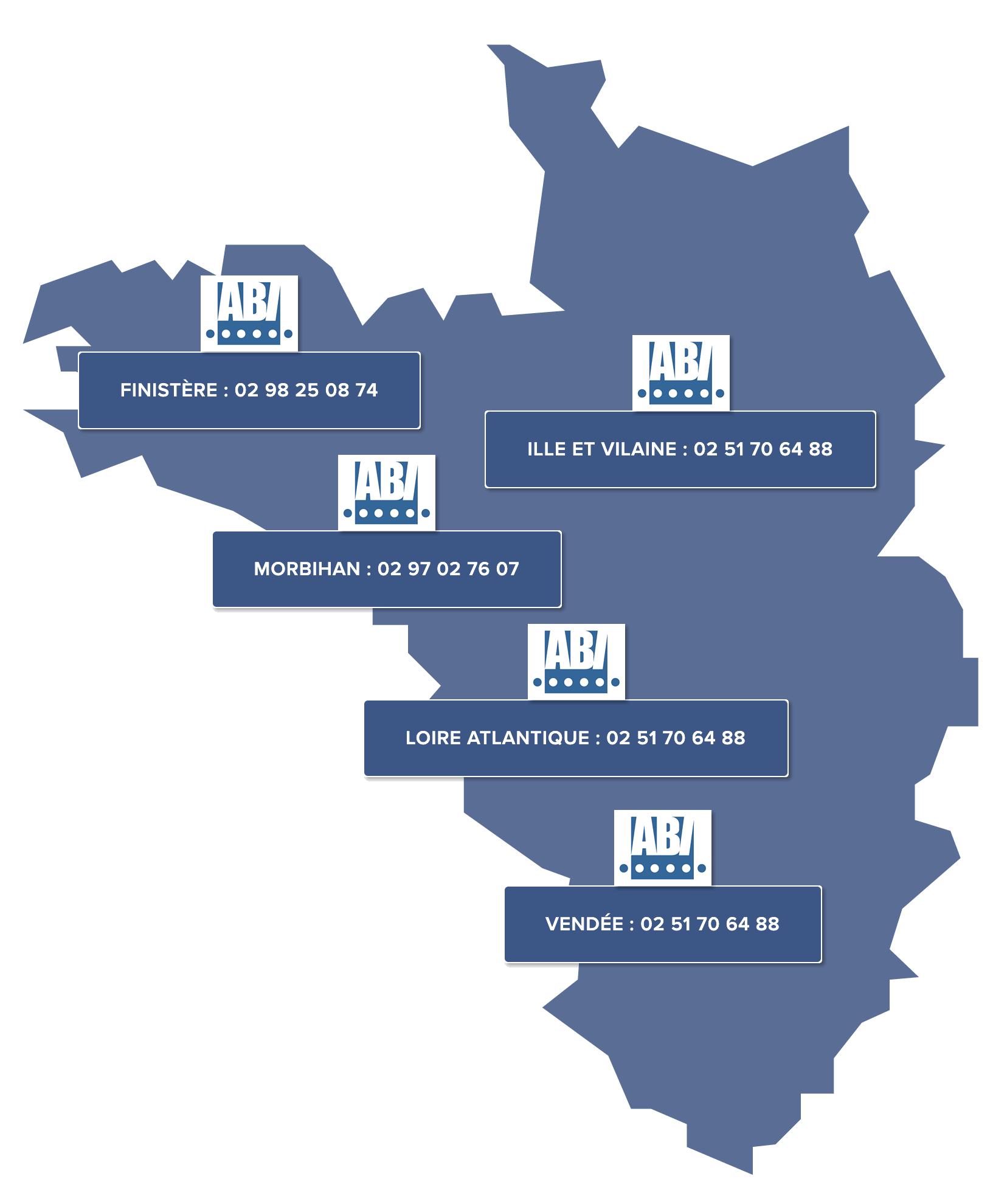 Agences et Bureaux de la société ABI Humidité en Bretagne et Pays de Loire