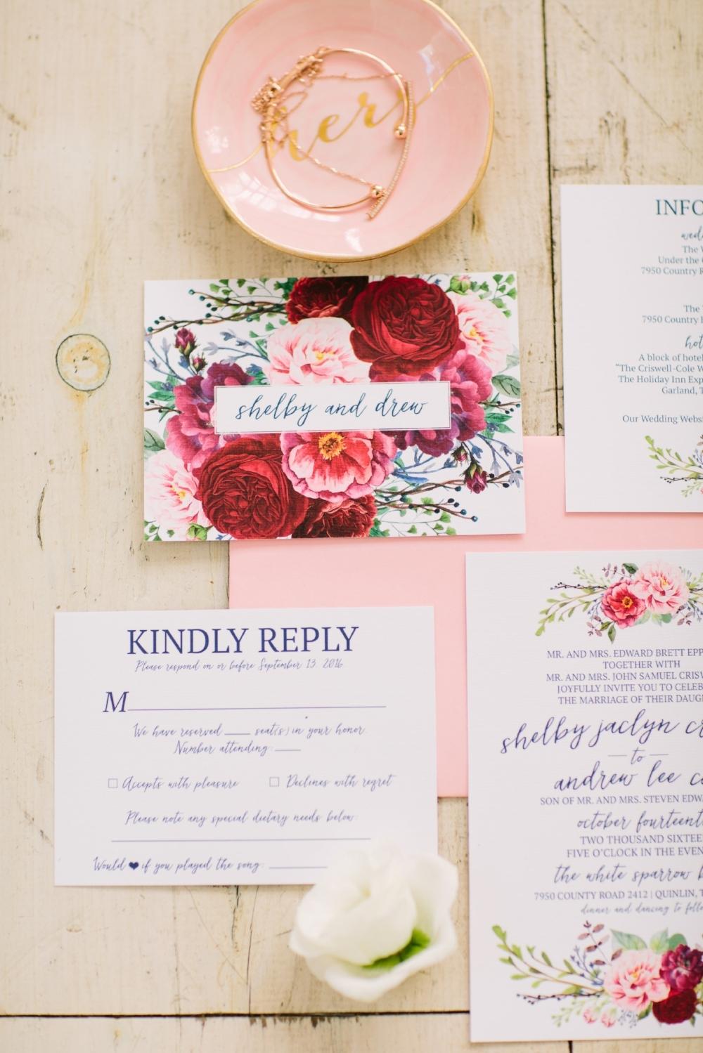 Floral Wedding Invitations - Dallas Wedding Planner