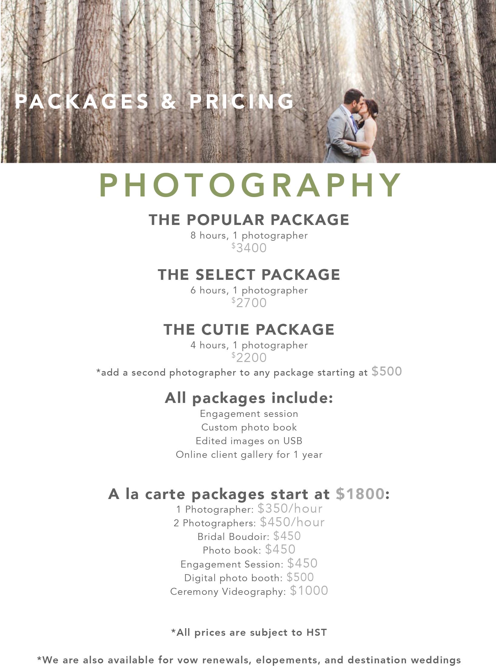 Wedding Photography Prices Website