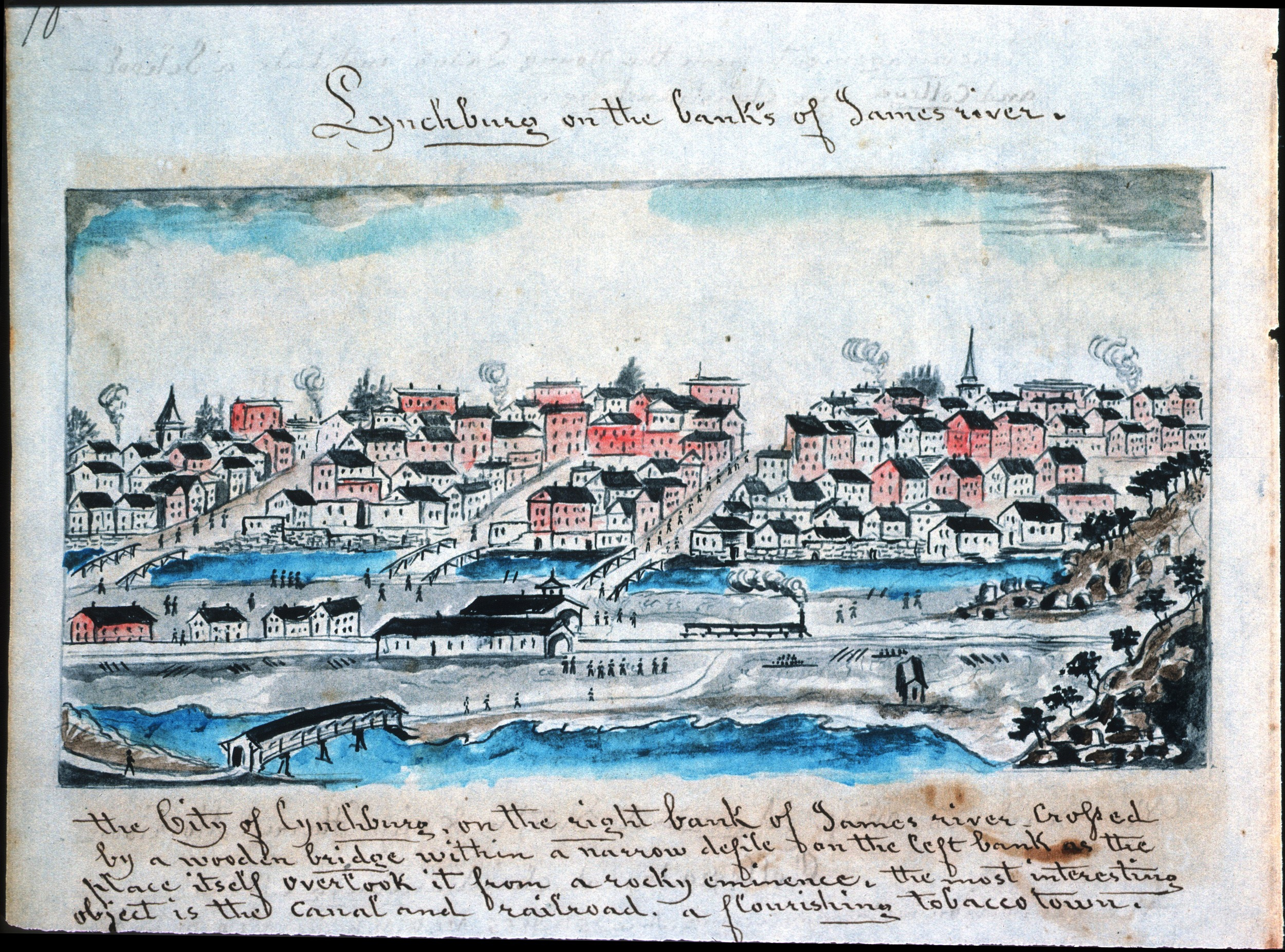 Lewis Miller drawing of Lynchburg ca. 1852