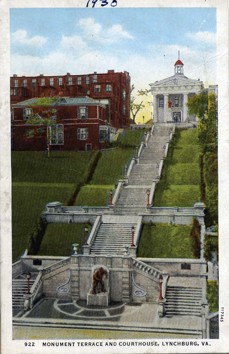 Monument terrace and the Court house As seen in 1930