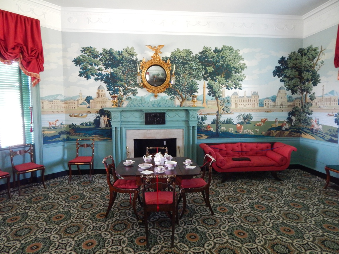 The Monuments of Paris wallpaper found in the parlor at Point of Honor.