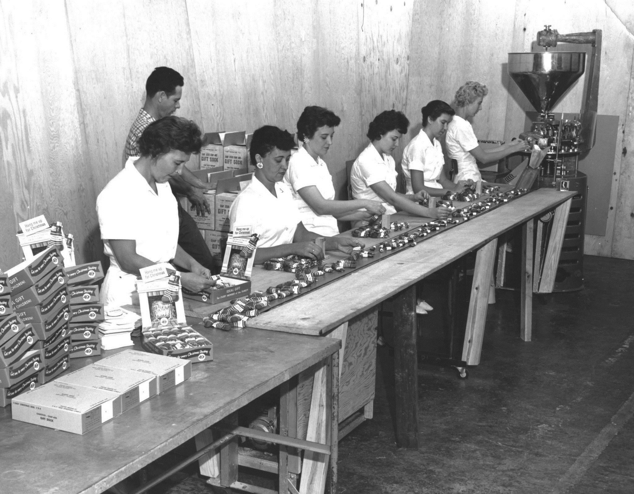 The ChapStick Factory in 1961 packaging ChapStick into Christmas Stockings ( Photo by Owen Grubbs and provided by RetroWeb Visual History of Lynchburg, Virginia courtsey-Kipp Teague)