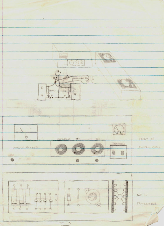 Goins drew this transmitter layout for WKKD while in class