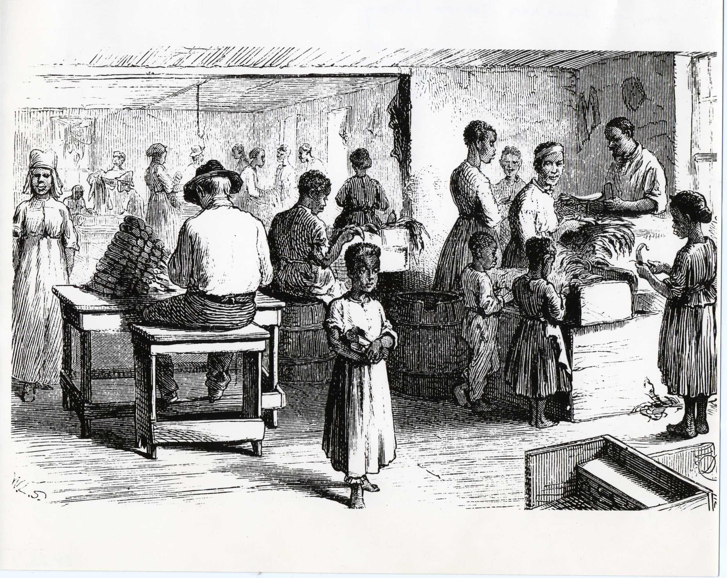 """""""Old Market Tobacco Scene"""", c. 1878. From the Lynchburg Museum System"""