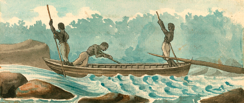 THREE SLAVES STEERING A BATEAU, 1798, WATERCOLOR  by Benjamin Henry Latrobe http://edu.lva.virginia.gov/online_classroom/shaping_the_constitution/doc/bateau