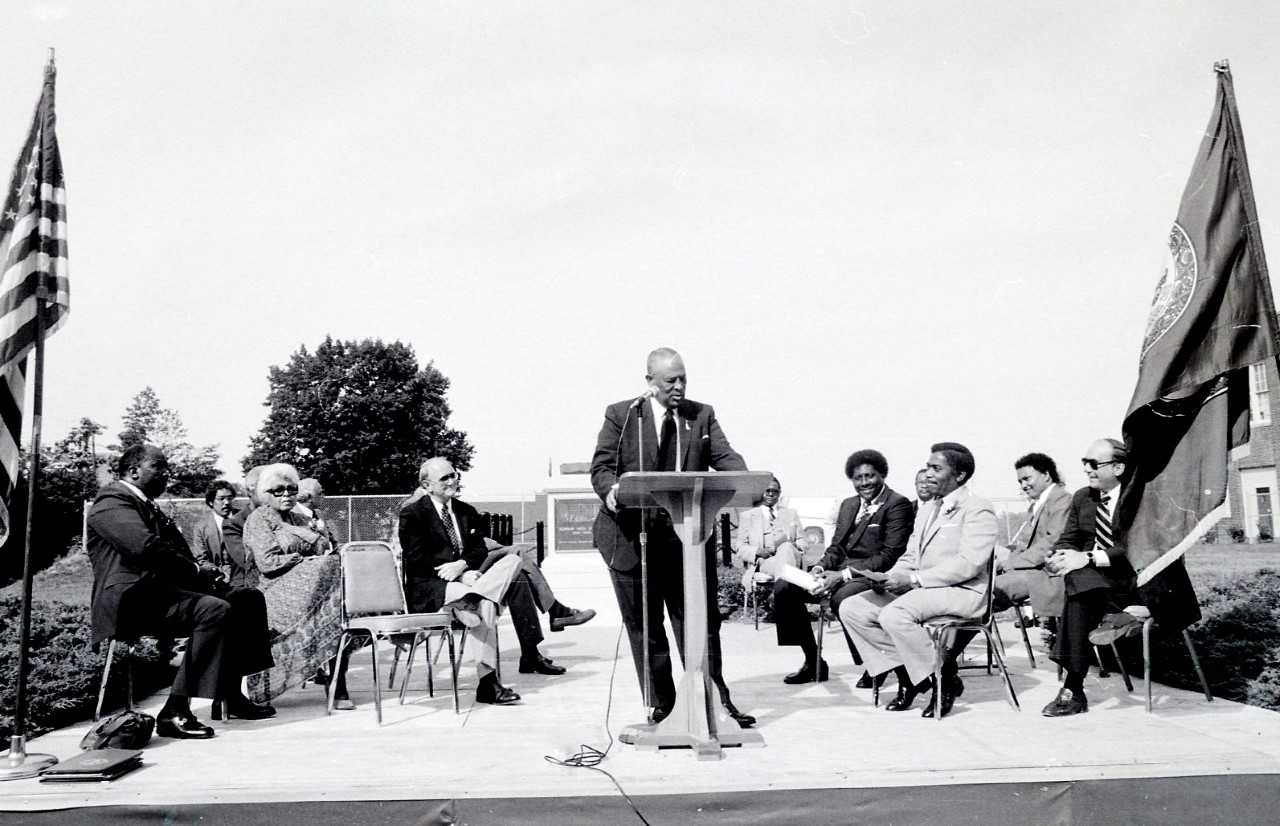 Seay speaking in front of Dunbar, 1981. Courtesy of The News and Advance