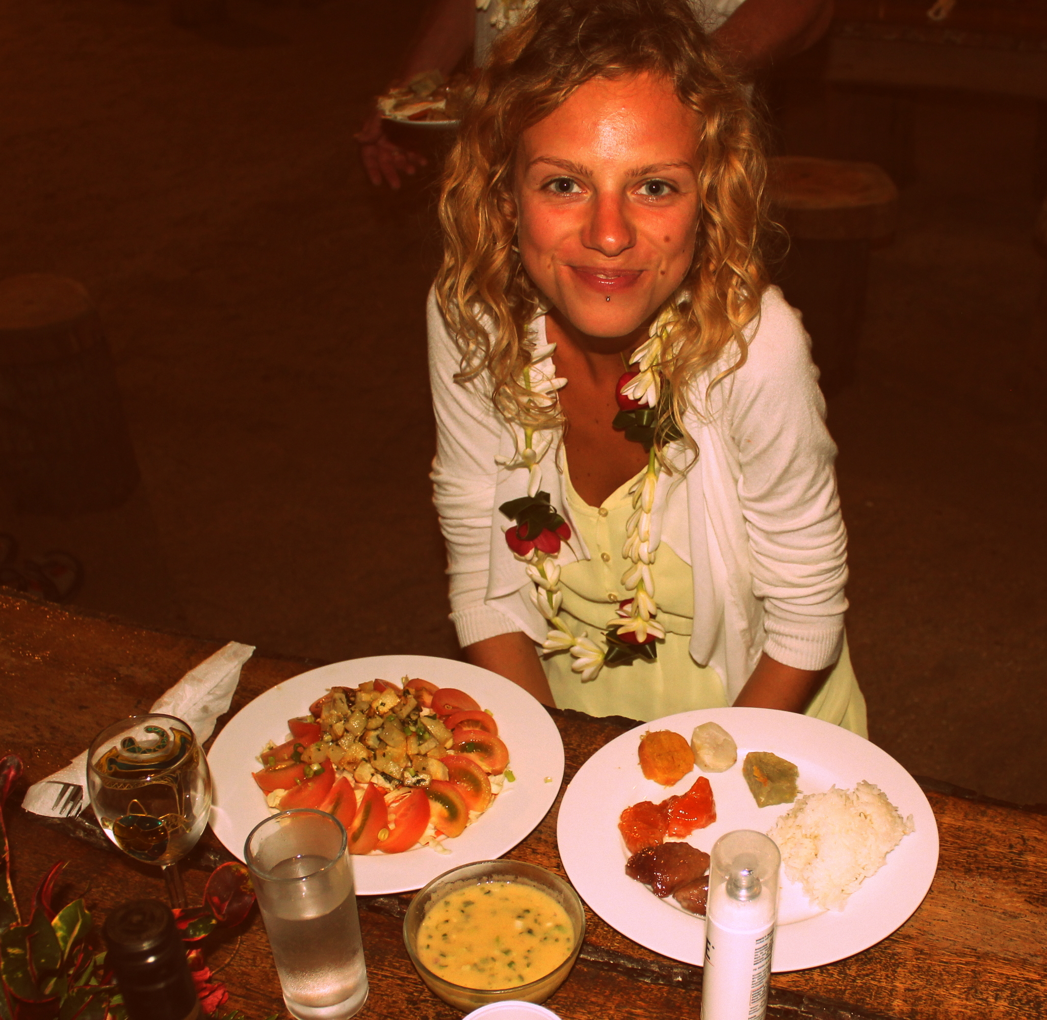 enjoying some traditional food of Taha'a (French Polynesia)