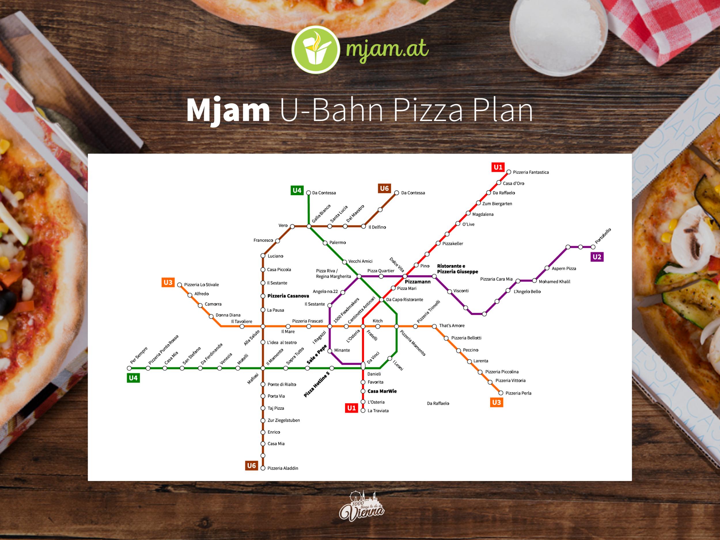 Sieh dir den einzigartigen  U-Bahn-Pizza Plan hier  noch einmal im Detail an!