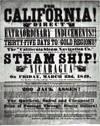 A flyer urging people to sail for the California gold rush regions.