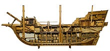 Model  of a typical 400 ton 17th century English merchantman showing the cramped conditions that had to be endured.