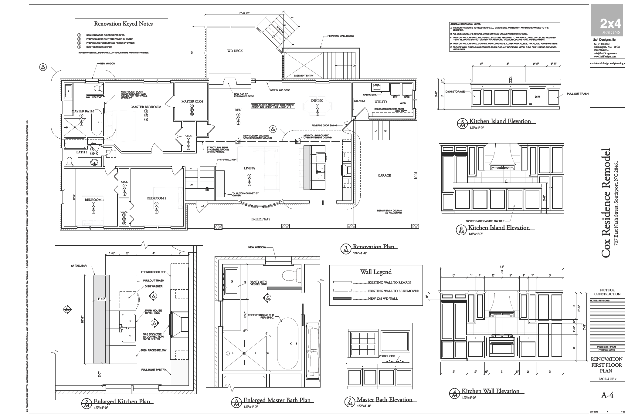 REMODEL FLOOR PLANS AND CABINET ELEVATIONS