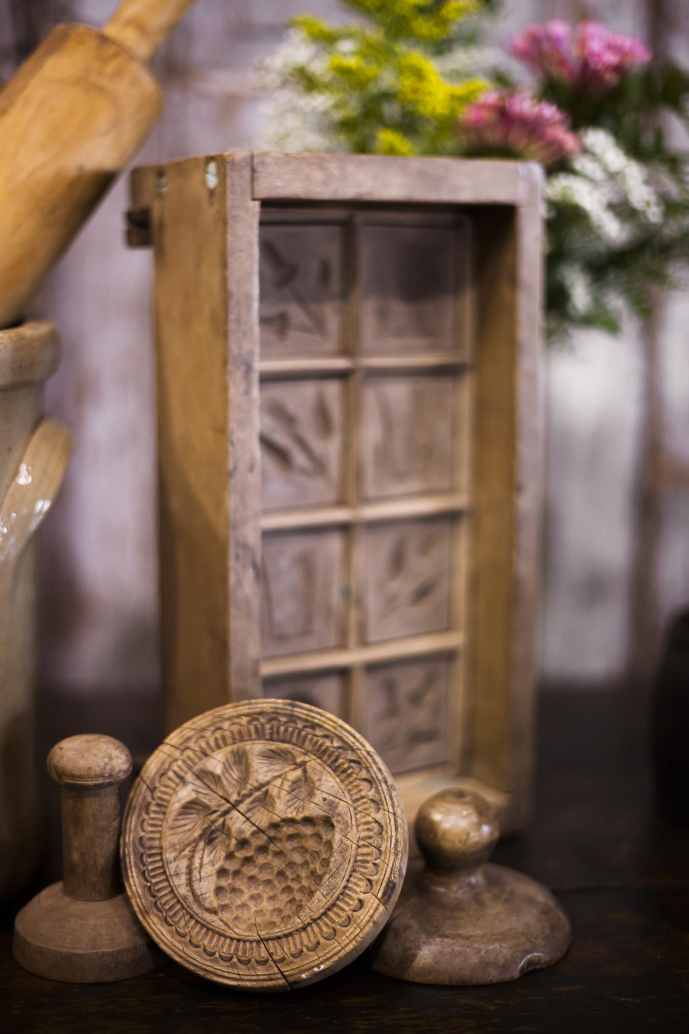 Aged Antique Wooden Kitchen Utensils