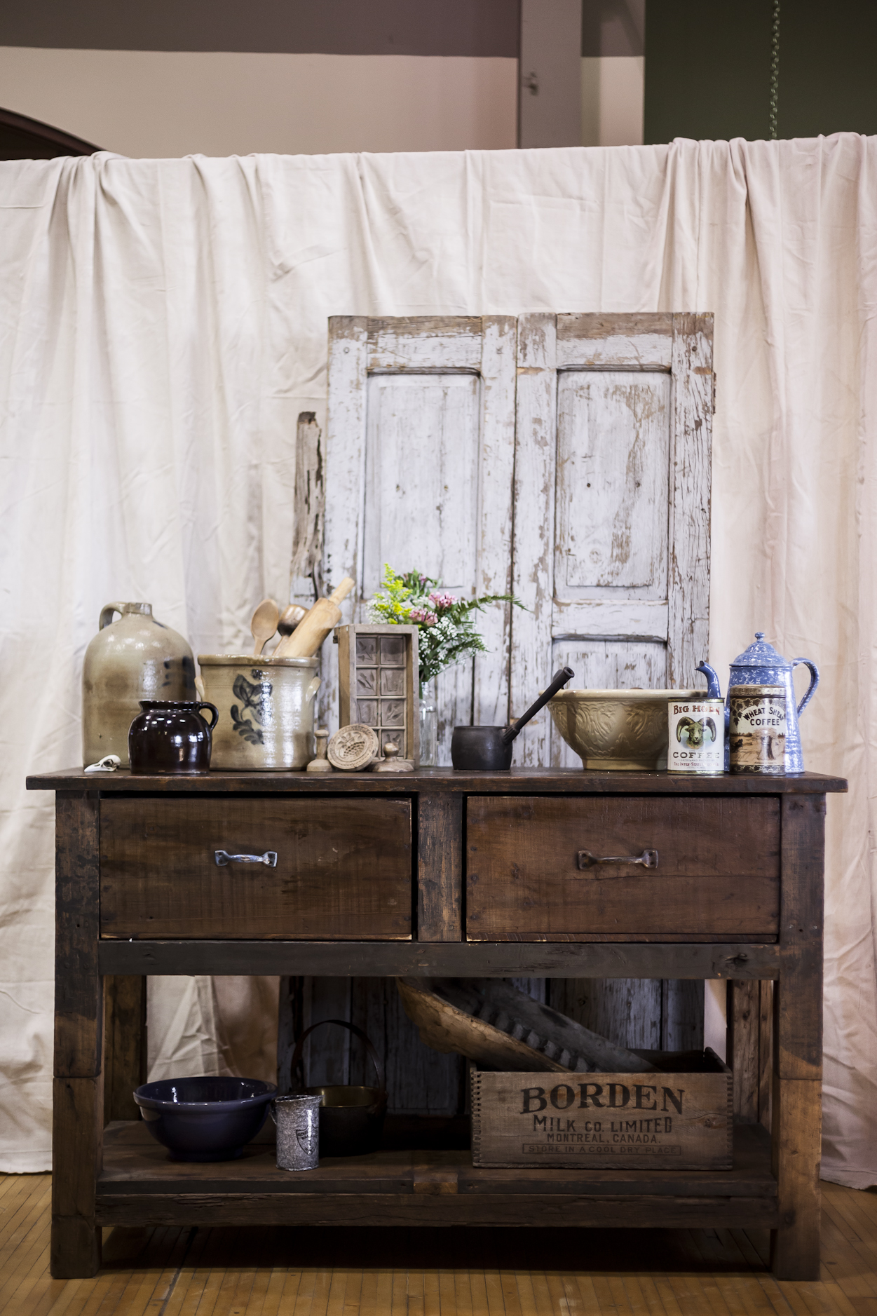 Vintage Desk With Assorted Antiques