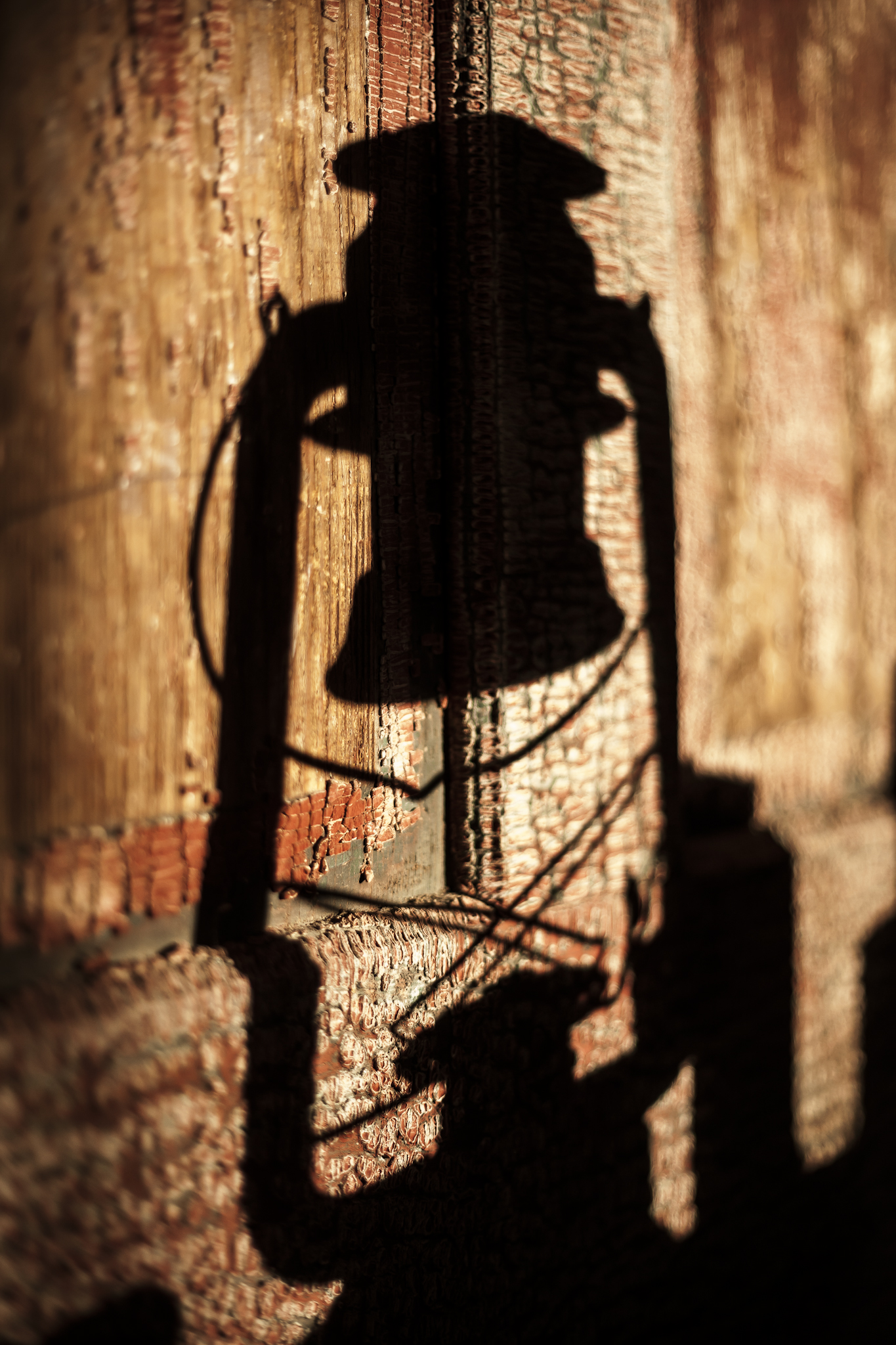 Distressed Door with a Shadow of a Hurricane Lamp Cast upon it
