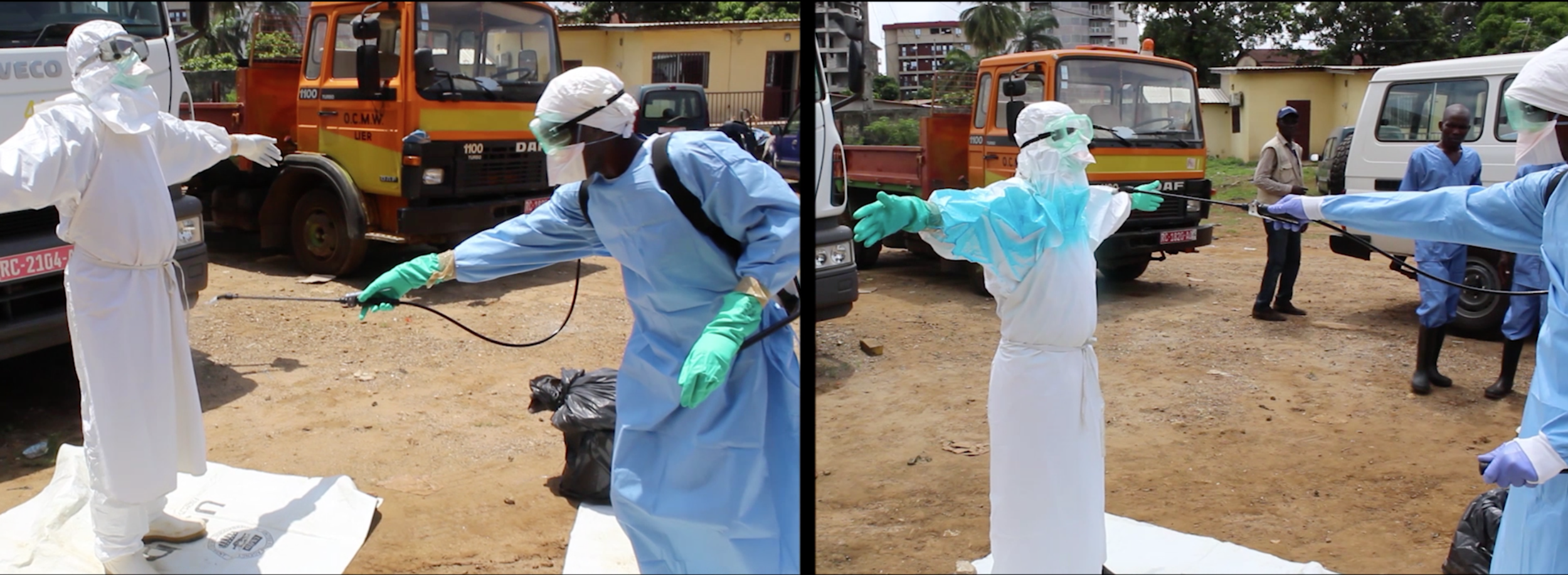 Doffing procedure using bleach alone (left) and bleach with Highlight (right) in Guinea with International Medical Corps. June 2016.